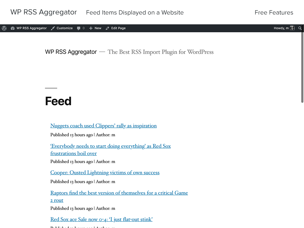wp-rss-aggregator screenshot 1