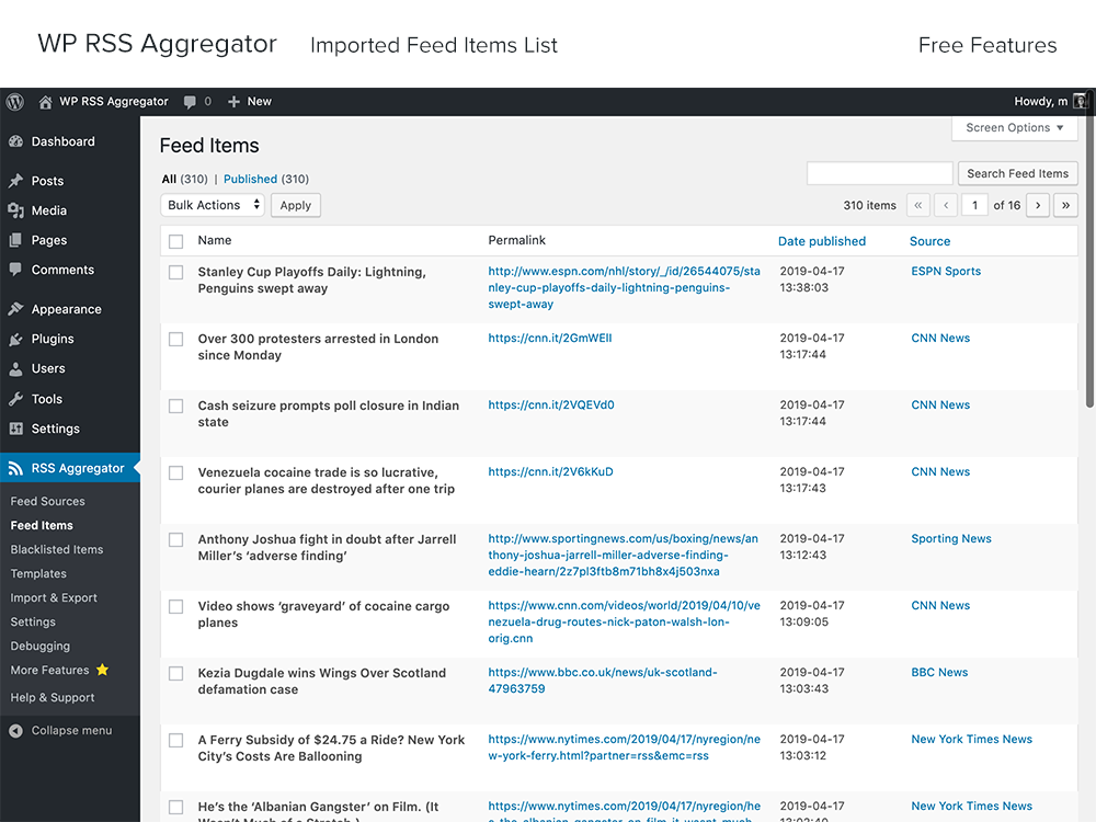 wp-rss-aggregator screenshot 5
