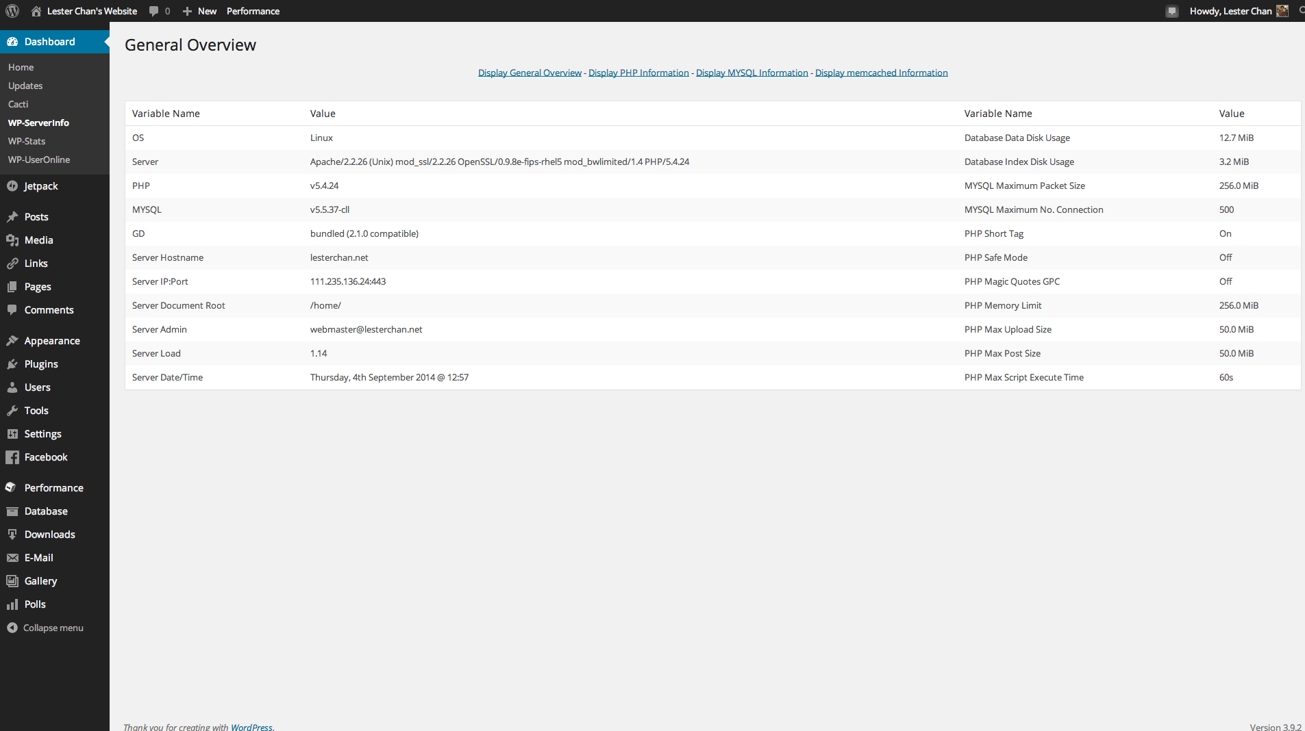 wp-serverinfo screenshot 2
