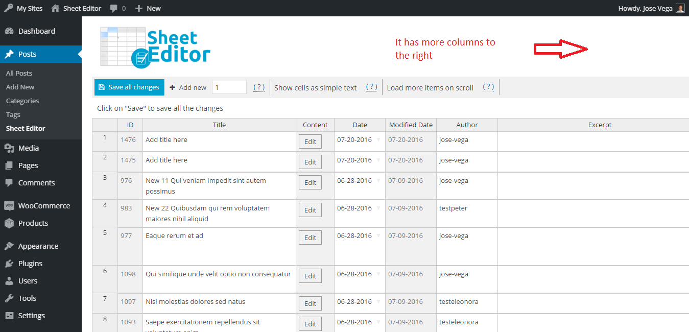 wp-sheet-editor-bulk-spreadsheet-editor-for-posts-and-pages screenshot 1