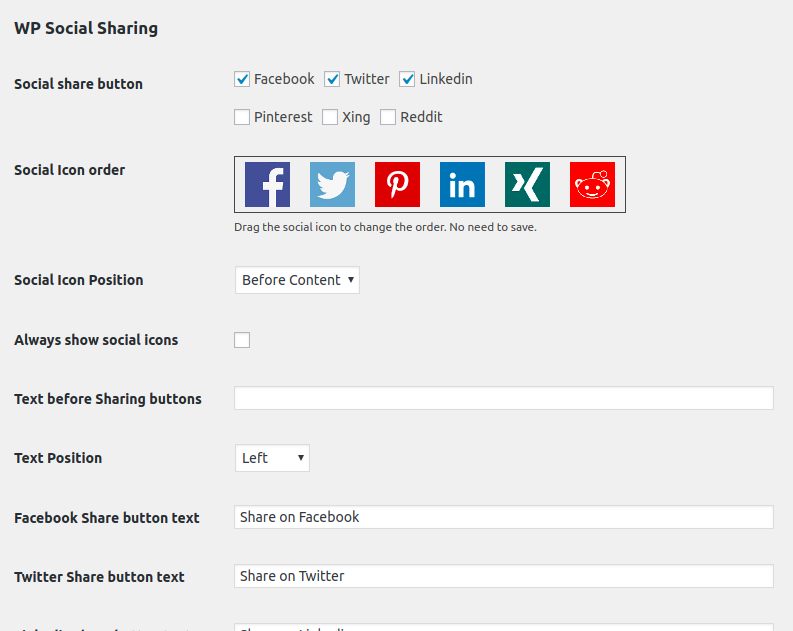 wp-social-sharing screenshot 3