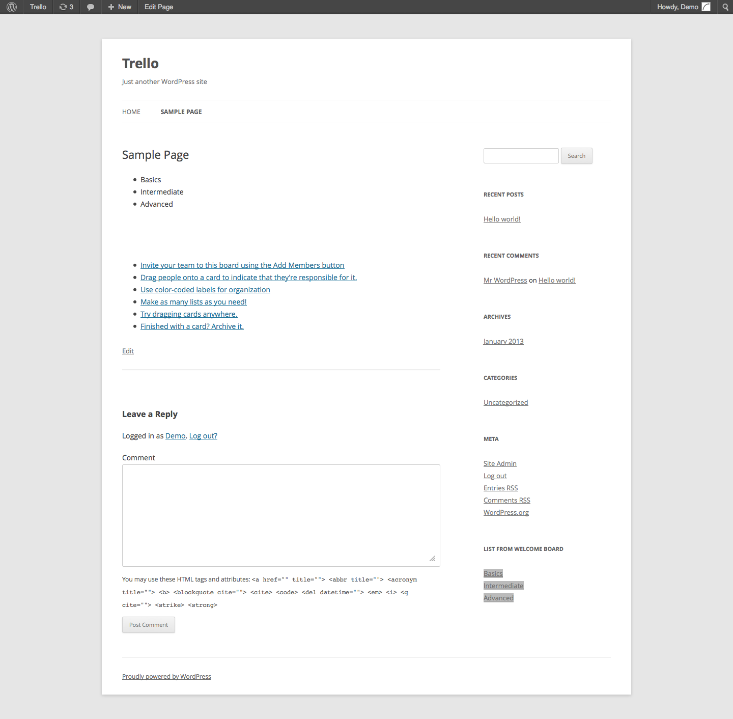 wp-trello screenshot 4