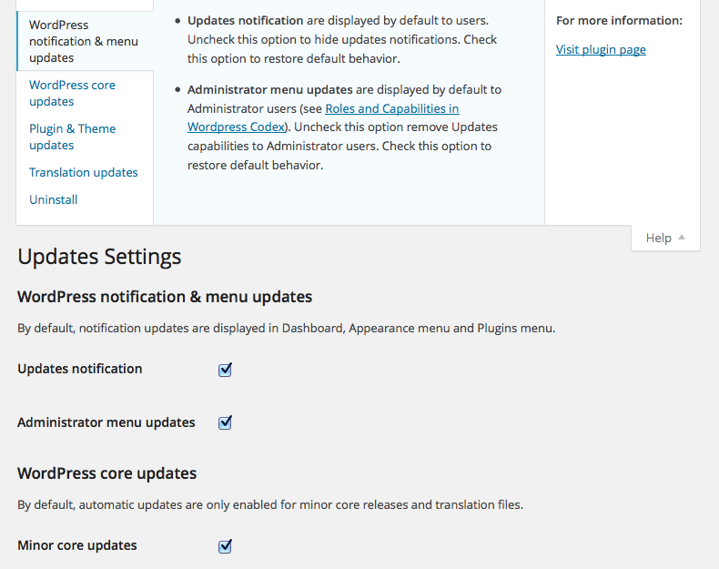 wp-updates-settings screenshot 4