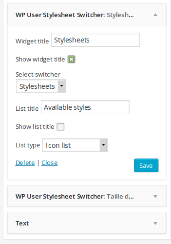 wp-user-stylesheet-switcher screenshot 2