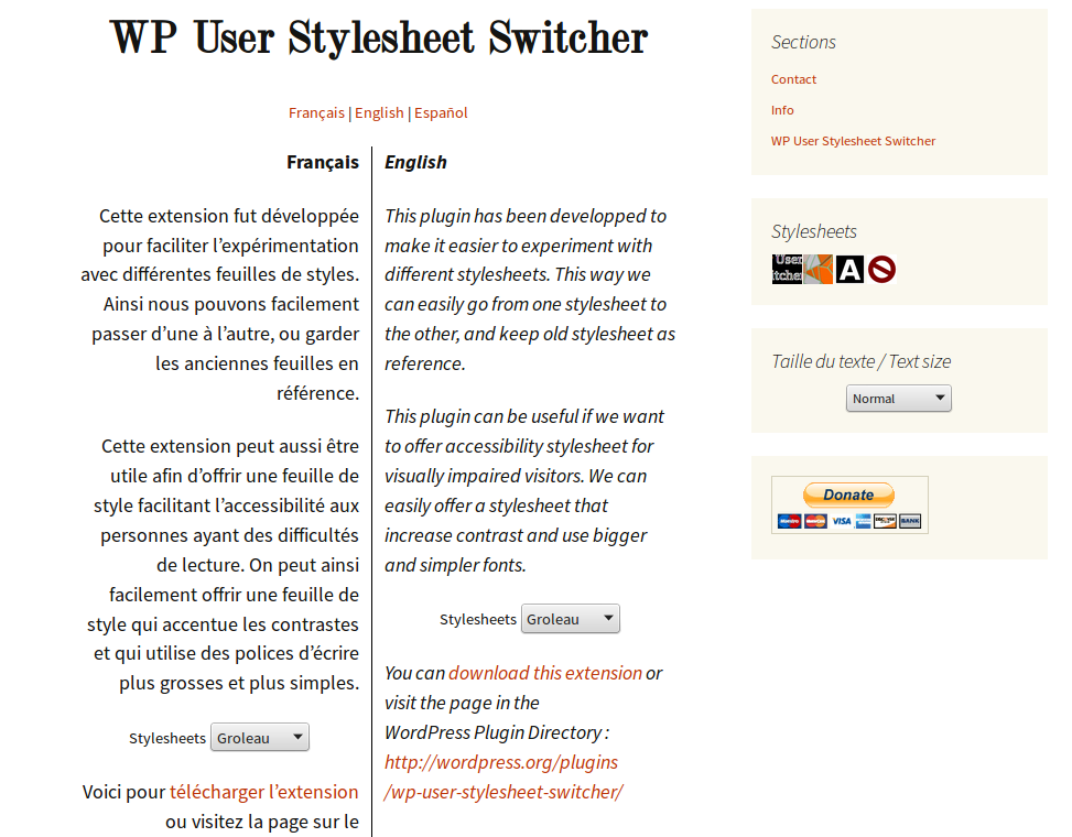 wp-user-stylesheet-switcher screenshot 3