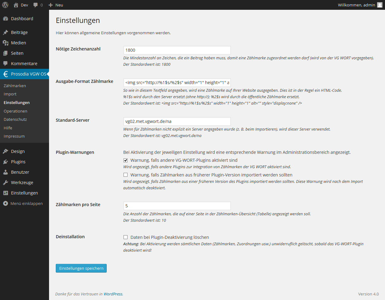 wp-vgwort screenshot 3