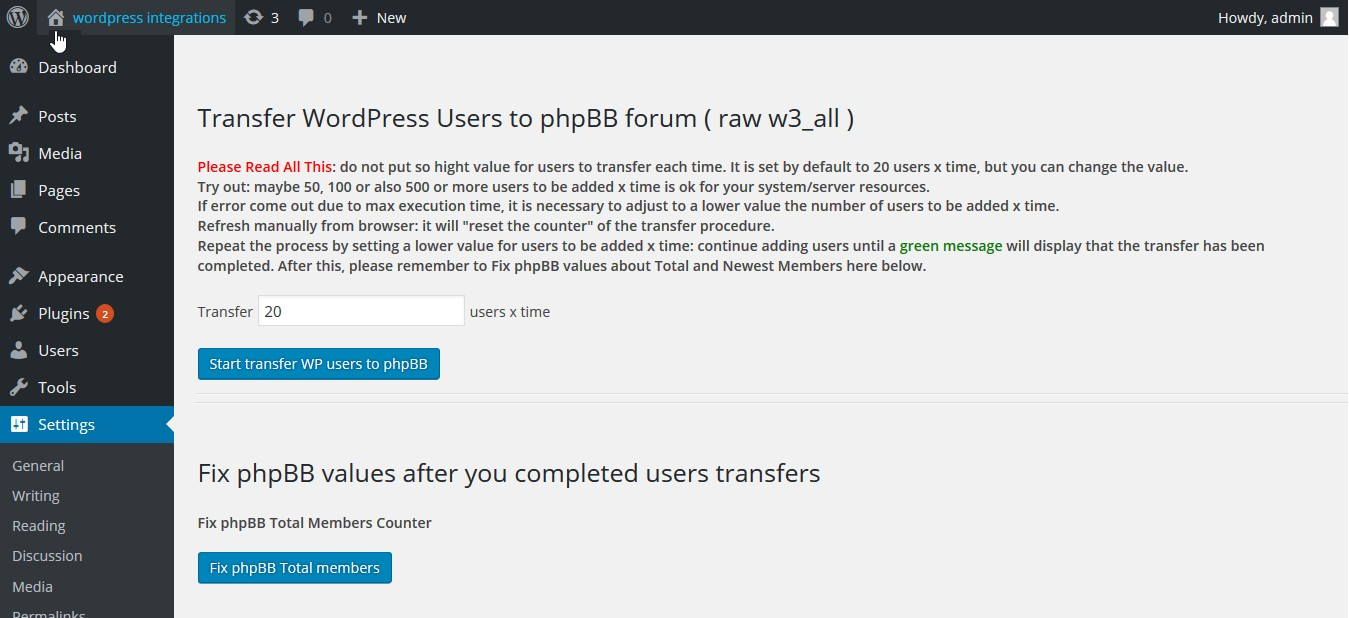 wp-w3all-phpbb-integration screenshot 2