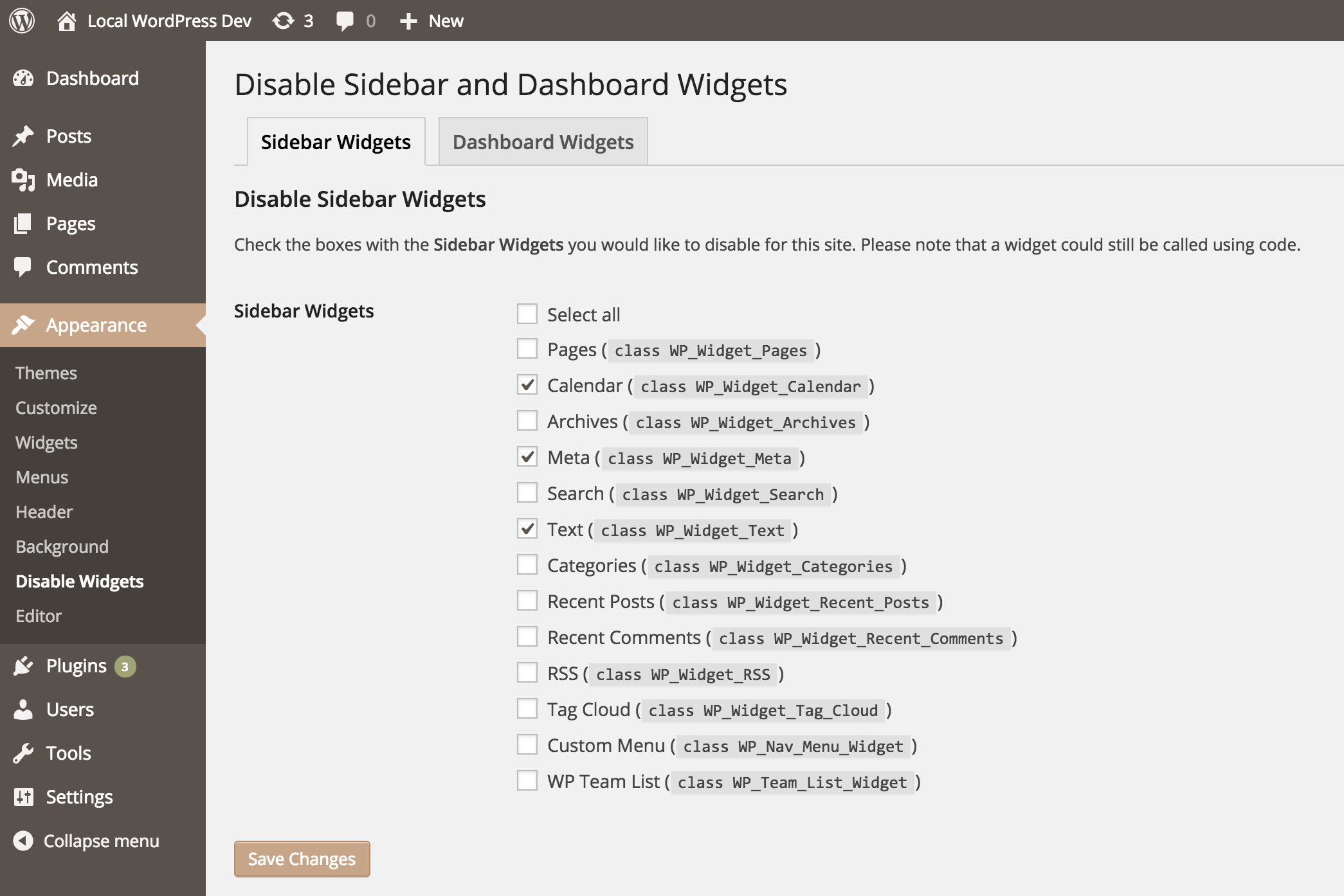 wp-widget-disable screenshot 1