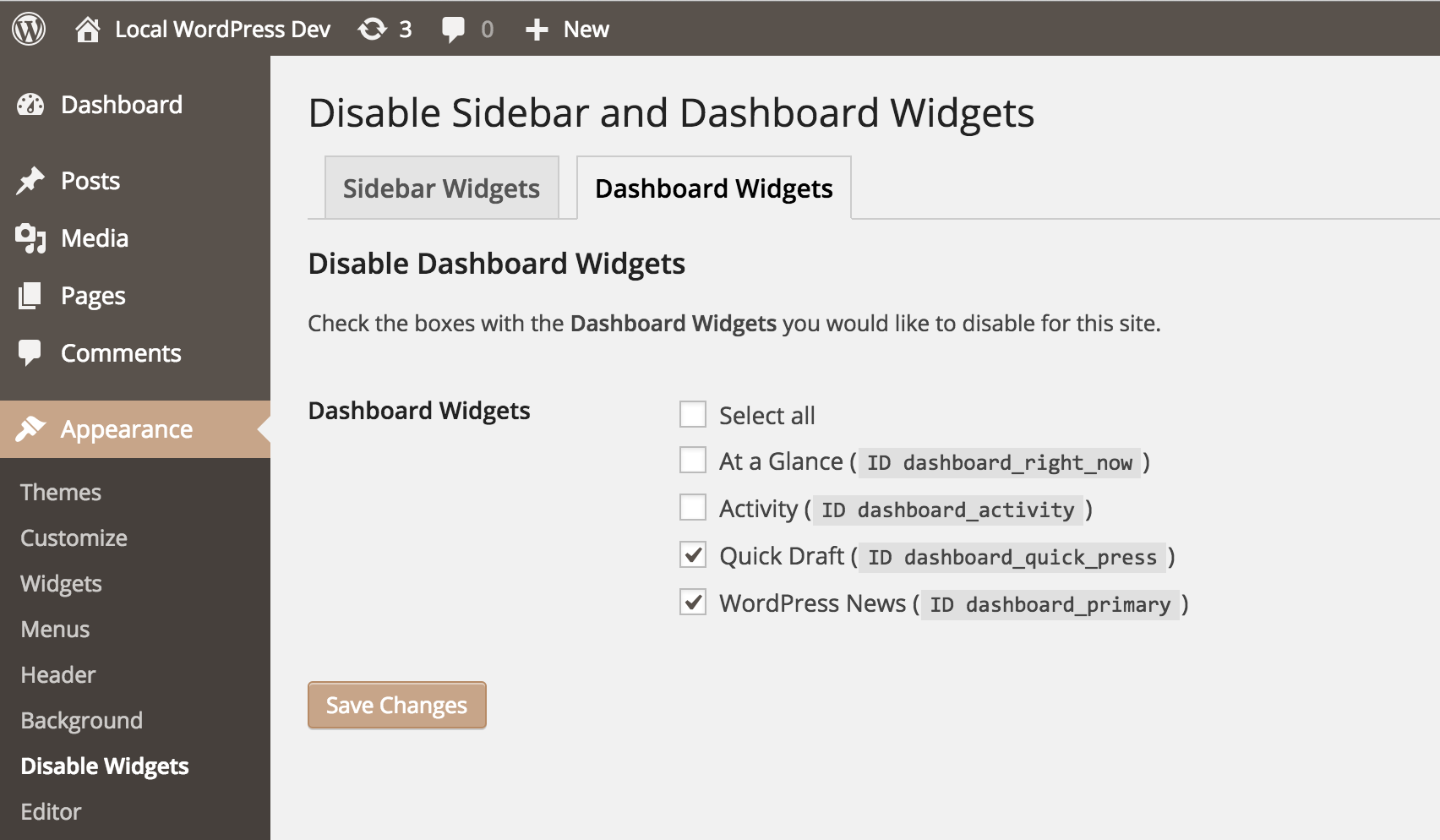 wp-widget-disable screenshot 2
