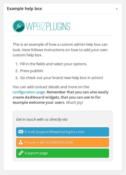wpbizplugins-custom-admin-help-boxes screenshot 1