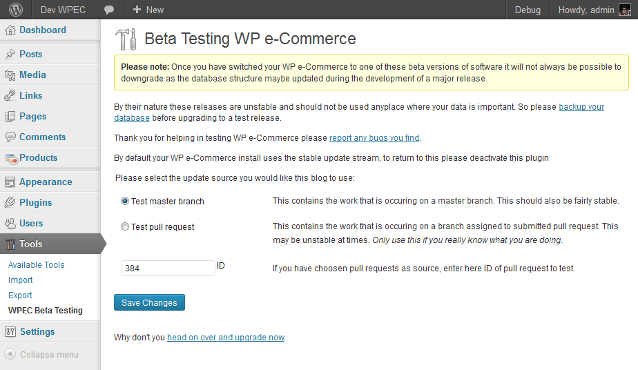 wpec-beta-tester screenshot 1