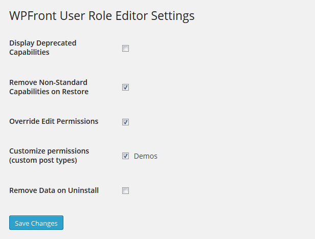 wpfront-user-role-editor screenshot 2