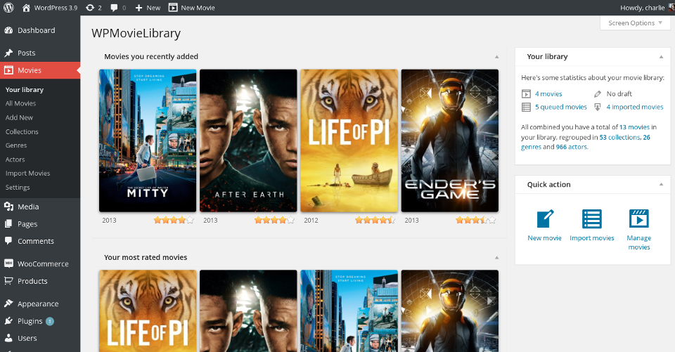 wpmovielibrary screenshot 1