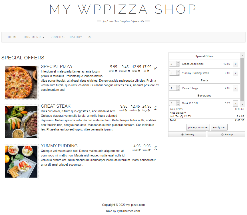 wppizza screenshot 1