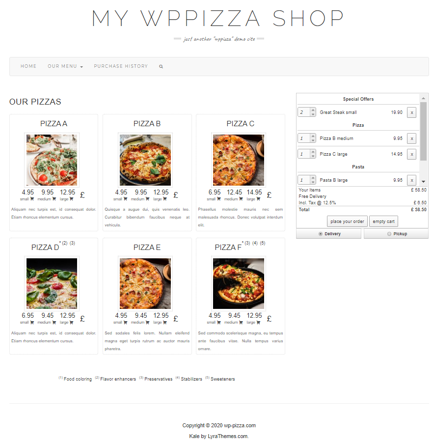 wppizza screenshot 3
