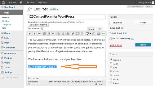 Paste the code in your WordPress post