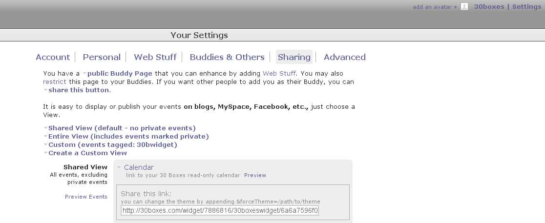 This screenshot shows you where you can find the 30Boxes Url needed in order to activate any of the widgets.