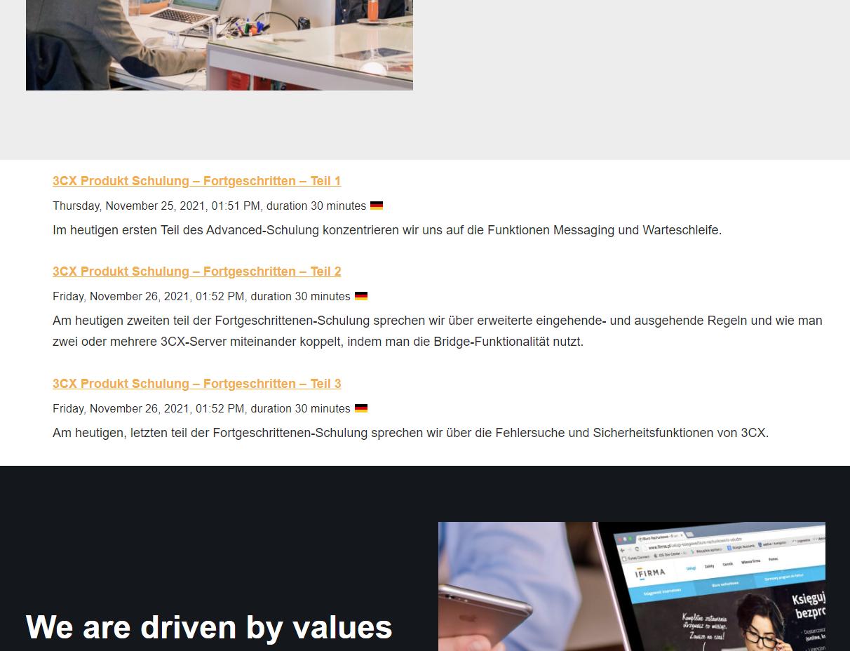 Visitor views list of published webinars via the 3CX Webinars plugin