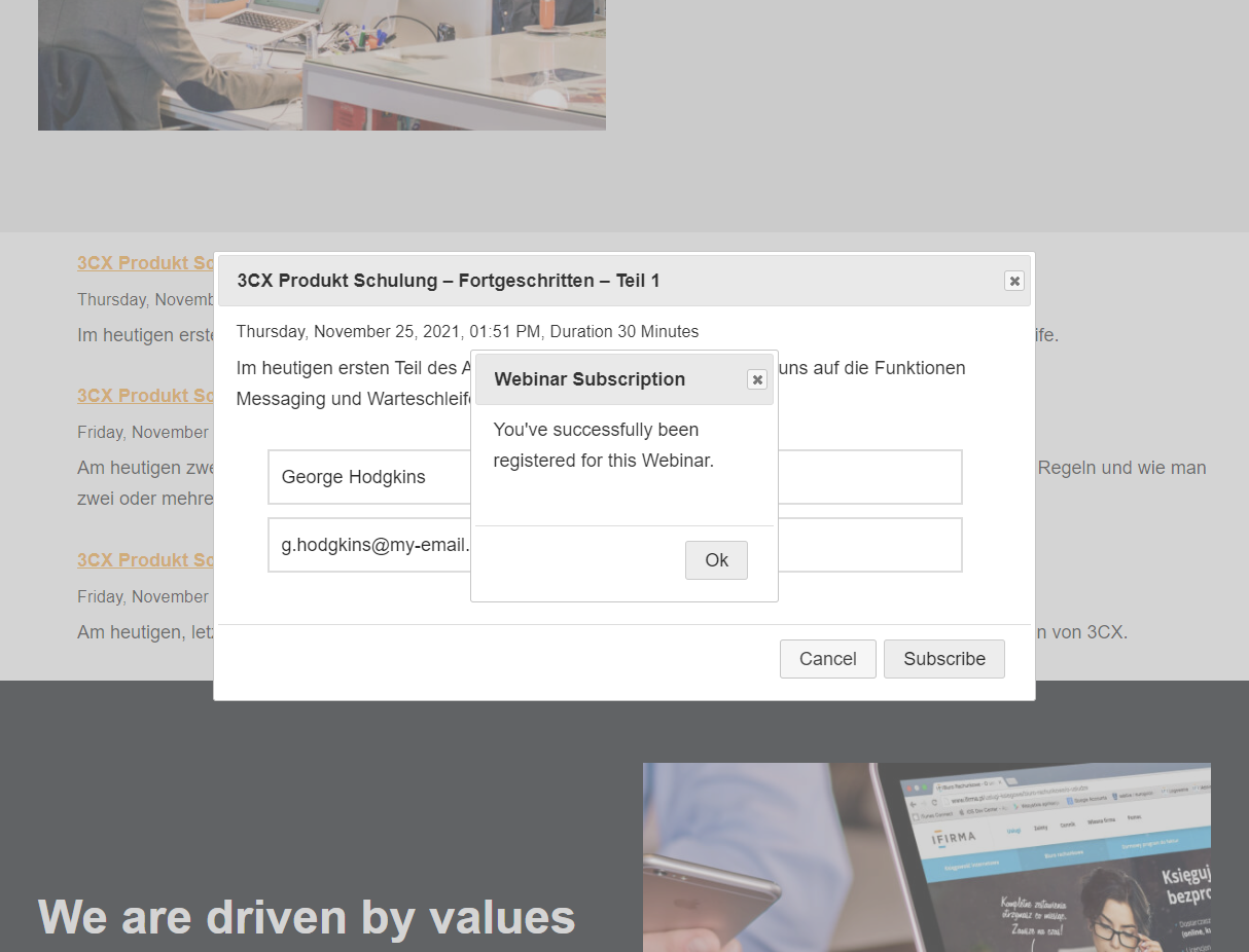 Visitor subscribes to published webinar via the 3CX Webinars plugin subscribe dialog.
