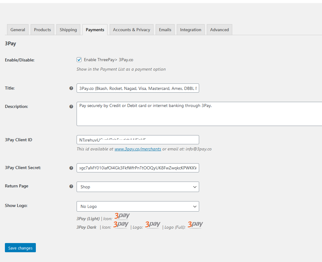 3Pay setting page