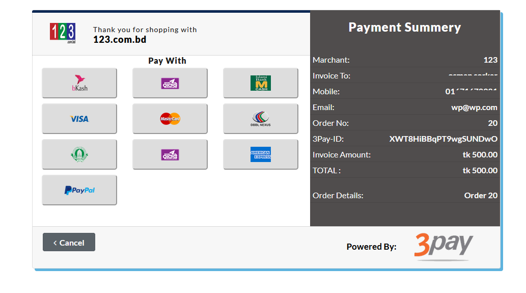 3Pay Payment gateway option at the checkout page