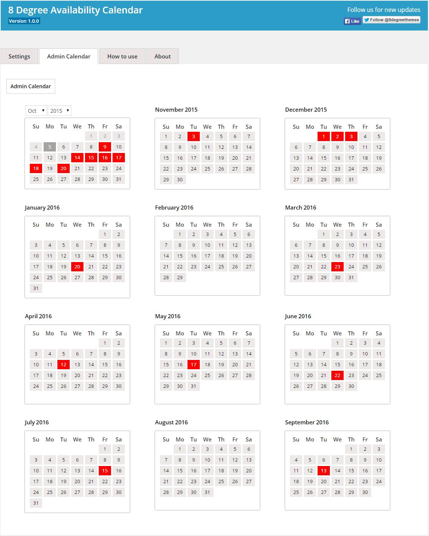 Backend Admin Calendar Panel