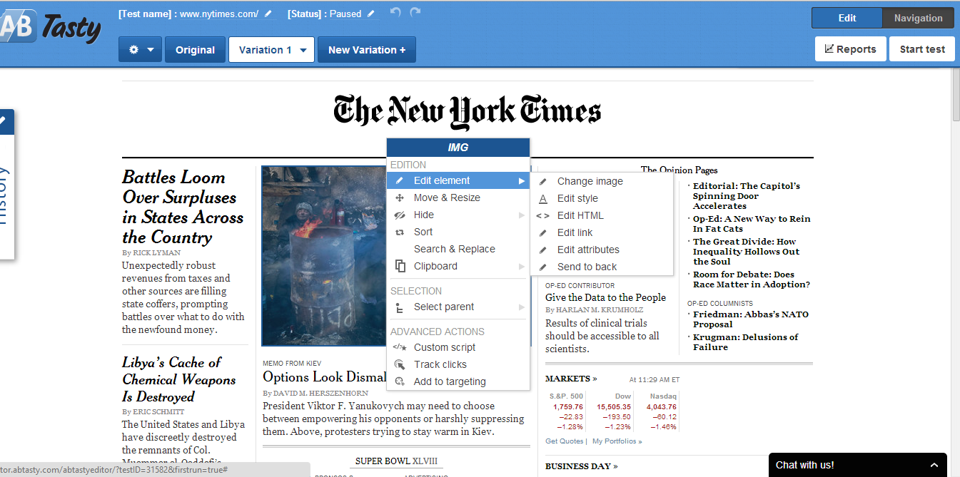 The online editor to create new variations