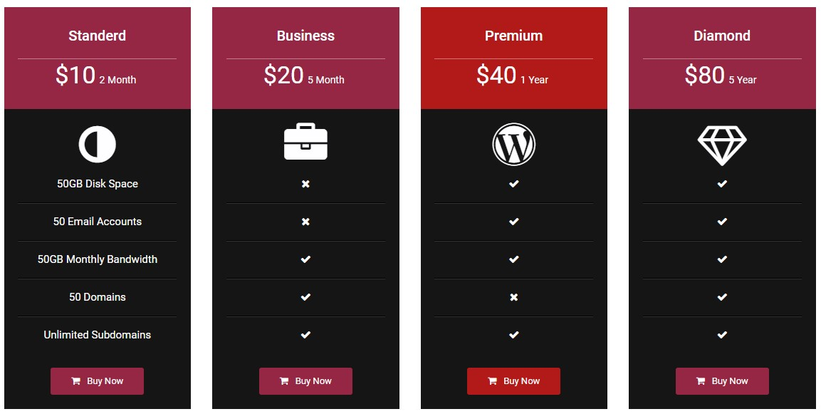 Pricing Table - Price list, Price Table, Easy Pricing ...