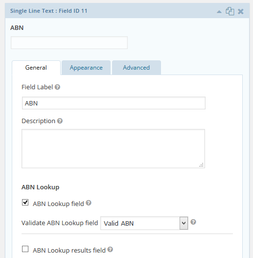 Shows ABN Lookup field options in the form editor.