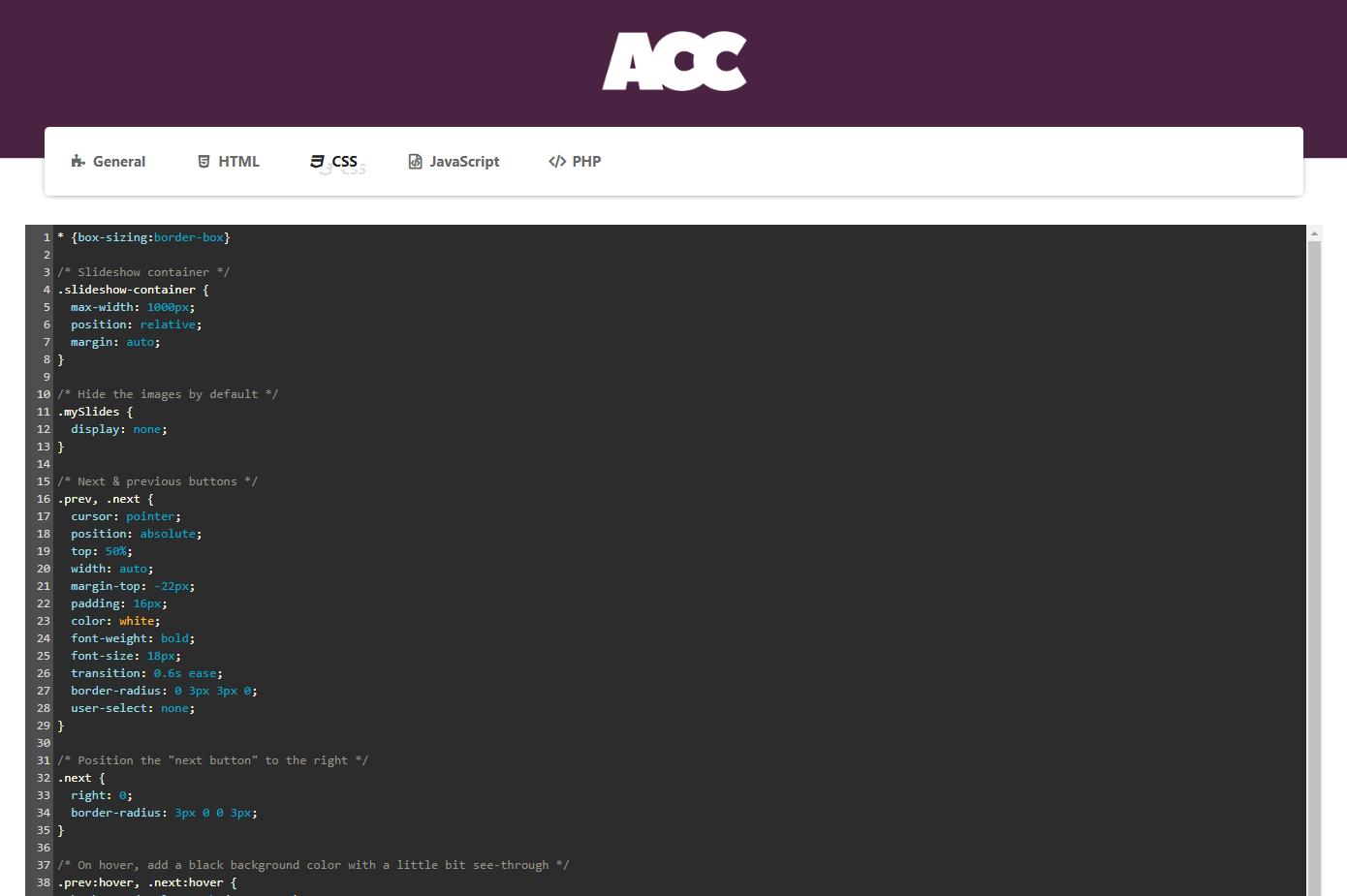 Advanced Custom Code - CSS Code.