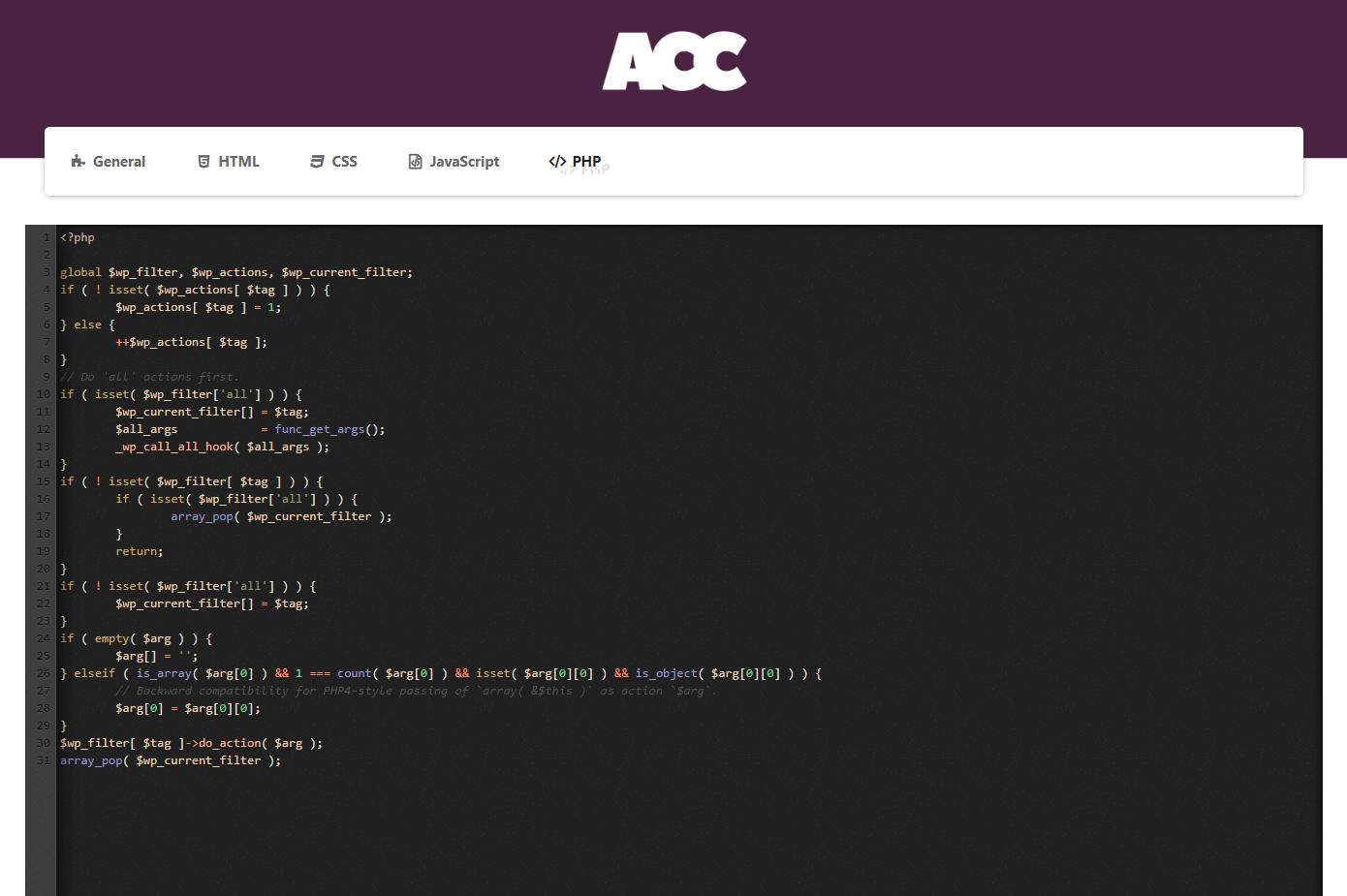 Advanced Custom Code - PHP Code.