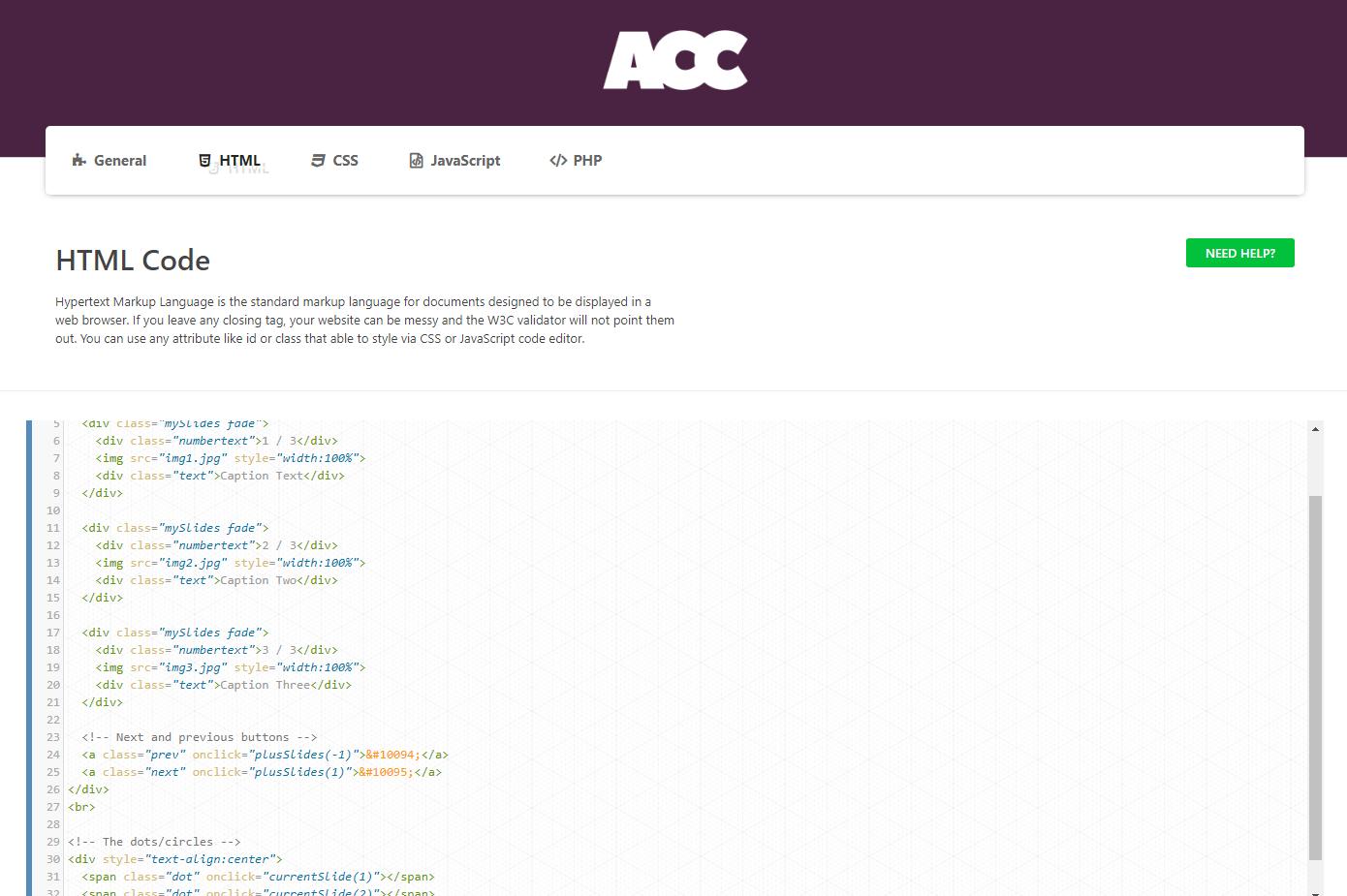 Advanced Custom Code - HTML Code.