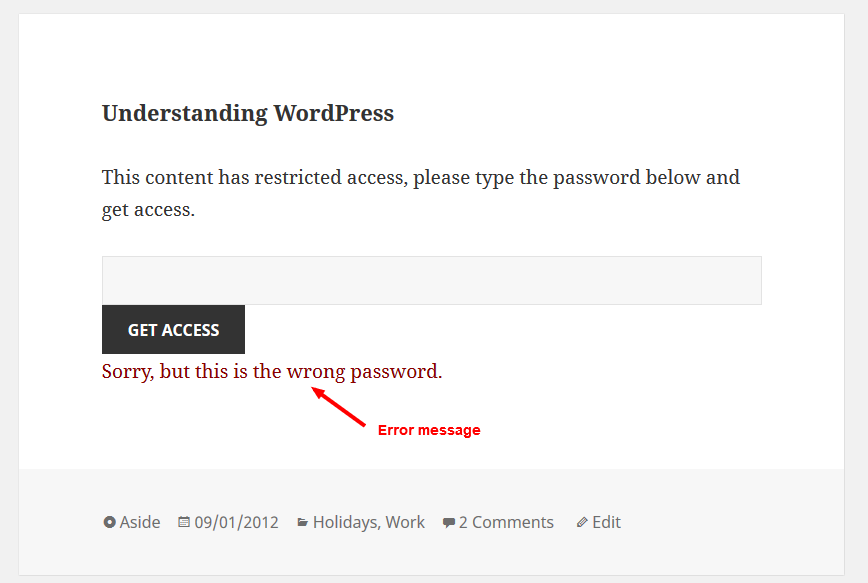 When wrong password...
