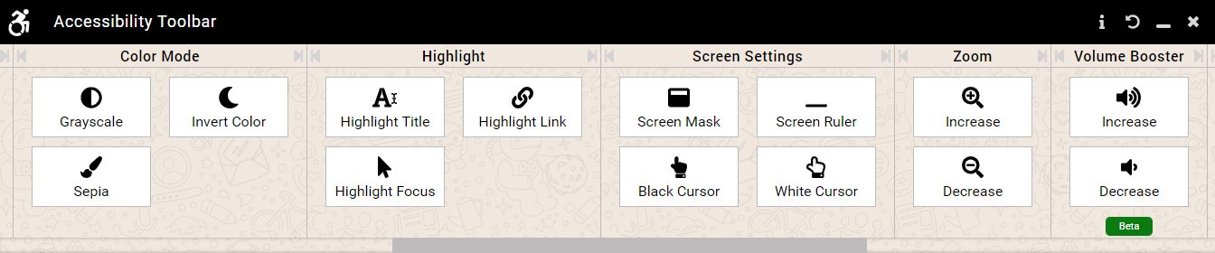 Accessibility tools (continued)