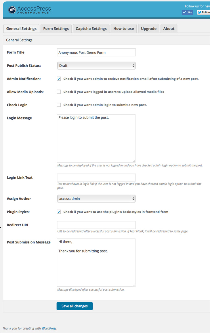 Backend General settings Panel