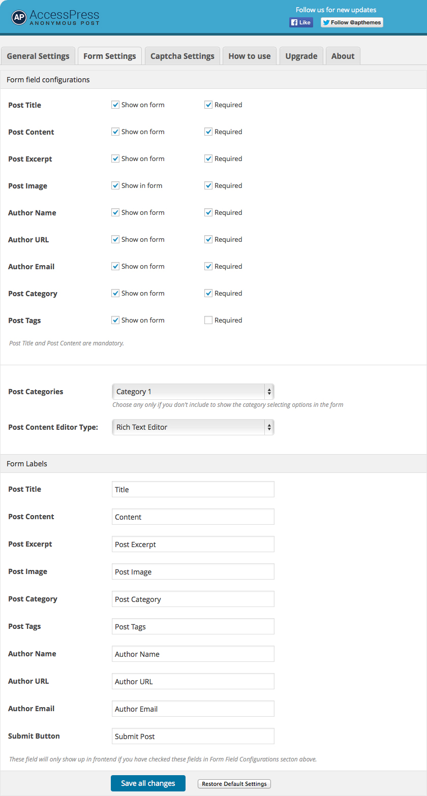 Backend Form Settings Panel