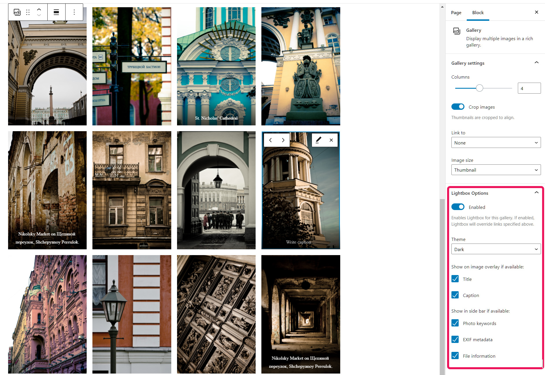 Configure the lightbox for each gallery directly within the Wordpress block editor.