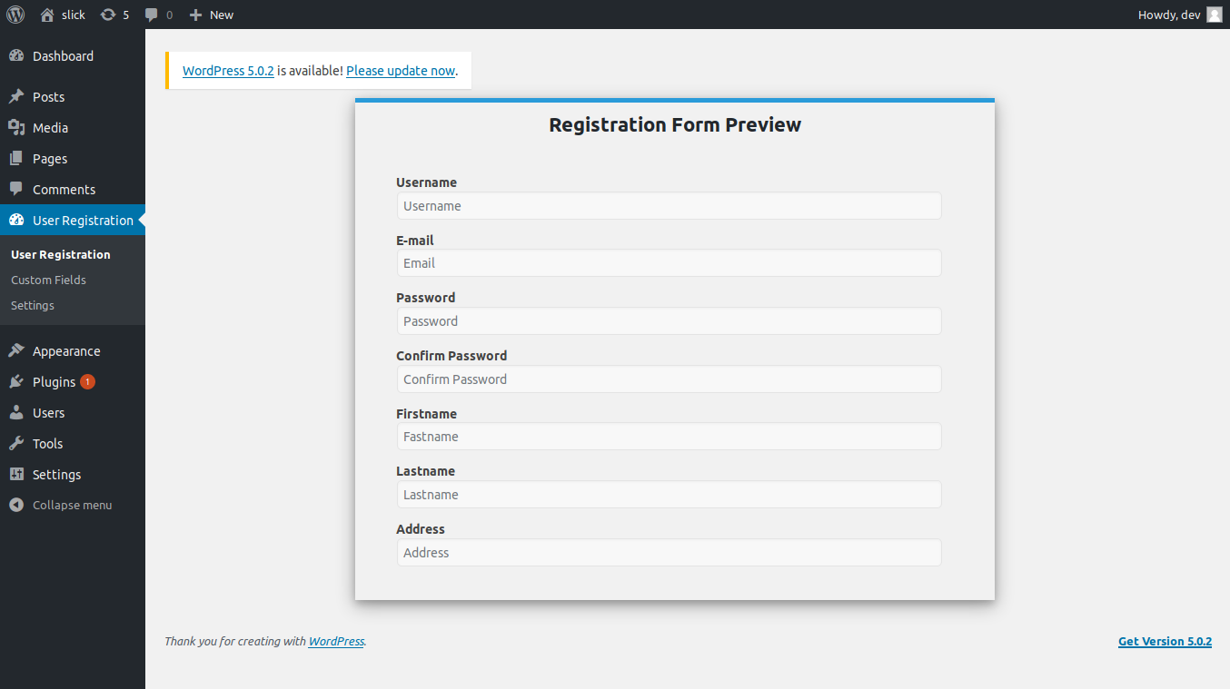 Registration form preview.