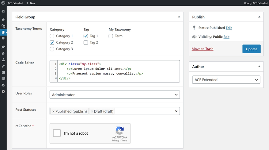 Advanced Custom Fields: Extended – WordPress plugin