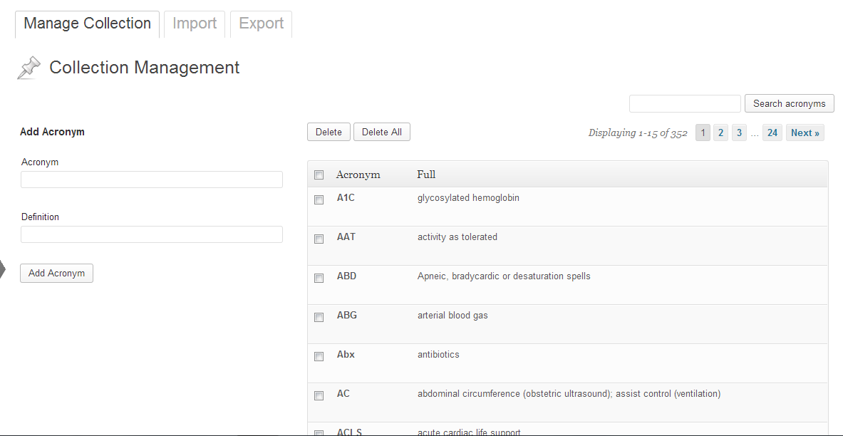 View of the management page, which is found under ToolsAcronym Manager.