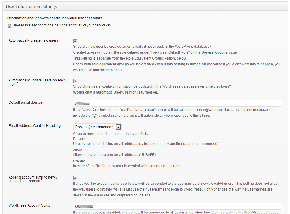 "The ""User"" settings area for this plugin. This is where you will set up the way users are created in WordPress and how user accounts are handled (shown running on WordPress 3.2-bleeding)."