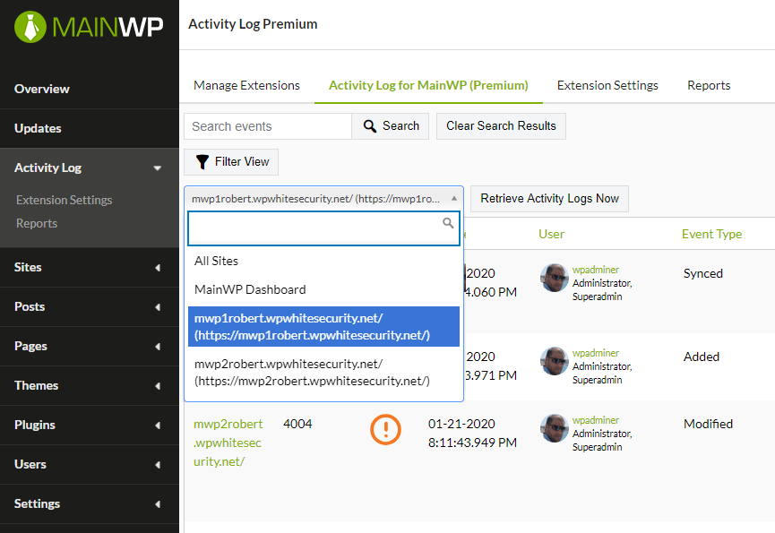 You can filter the activity log by child site or the MainWP dashboard by using the site selector drop down menu.