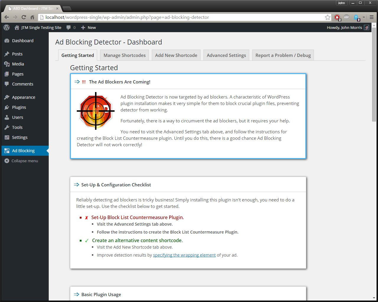 ad-blocking-detector screenshot 1