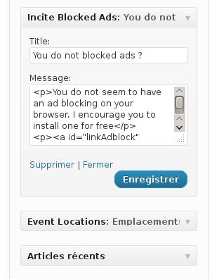 Incite Blocked Ads Widget Settings
