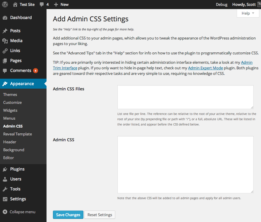 A screenshot of the plugin's admin settings page.