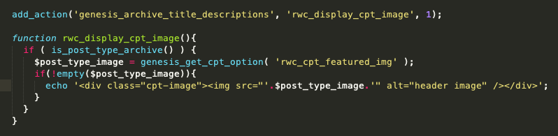 This screenshot shows how to use a hook to output the featured image on all custom post type archives.
