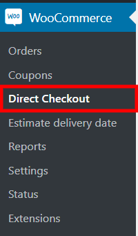 Plugin options page link in the left sidebar