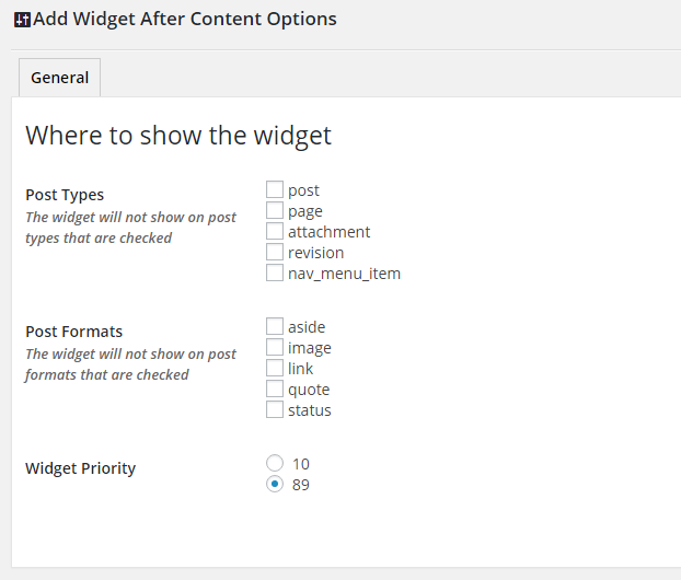 Widget After Content Settings Page