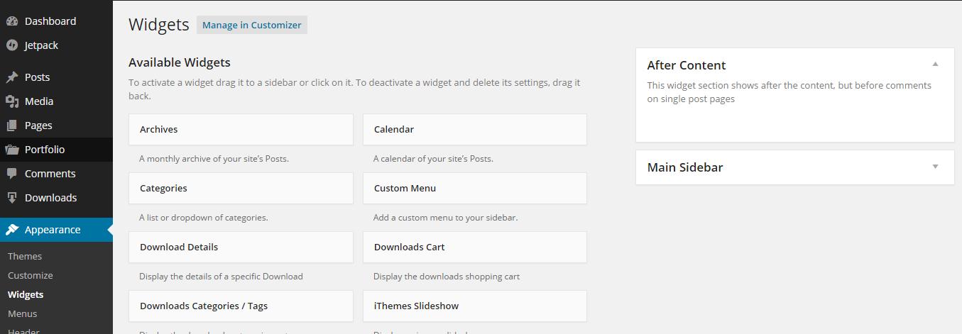 add widget after content