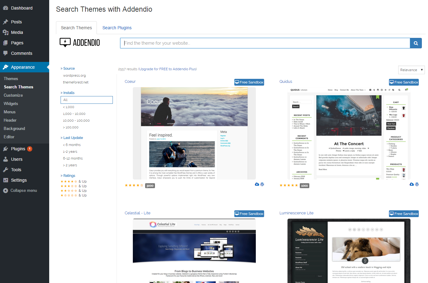 Search screen for Themes